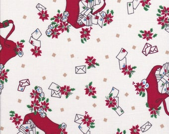 Christmas Fabric - Red Mail Bag Fabric - Poinsettia Fabric - Letter Fabric - Kaye England Fabric - Greetings Fabric - Back Porch Prints