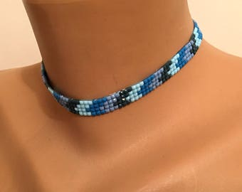 Chokers for Kids Teen, Blue Black Choker, Cute Necklace, Adjustable Necklace, 90s Choker Necklace, Valentines Gift, Birthday gift, Best