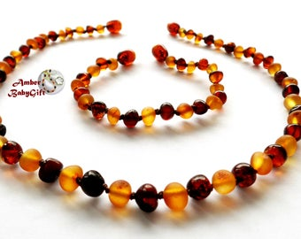 Polished / Raw Baltic Amber Teething Necklace and Bracelet / Anklet - Cognac and Cherry Amber Beads - Screw Clasp - Choose Your Length, K-7