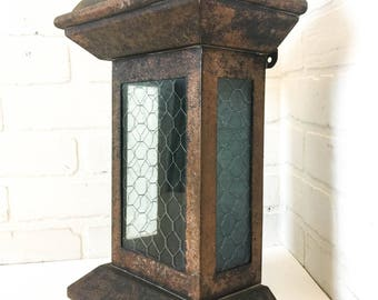 sold vintage metal wall mount mailbox with chicken wire glass lockable suggestion box savings bank - Wall Mount Mailboxes
