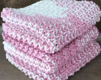Hand Knit Cotton Dish Cloths Set of 3 Pink and White