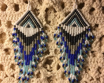 Beautiful Native American Southwestern, Boho Chic, Headdress style, Miyuki Seed Beads, unique and eye catching, .925 silver ear hooks