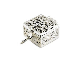 Sterling Silver Opening Ornate Pill Box Charm For Bracelets
