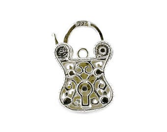 Sterling Silver Ornate Padlock For Bracelets