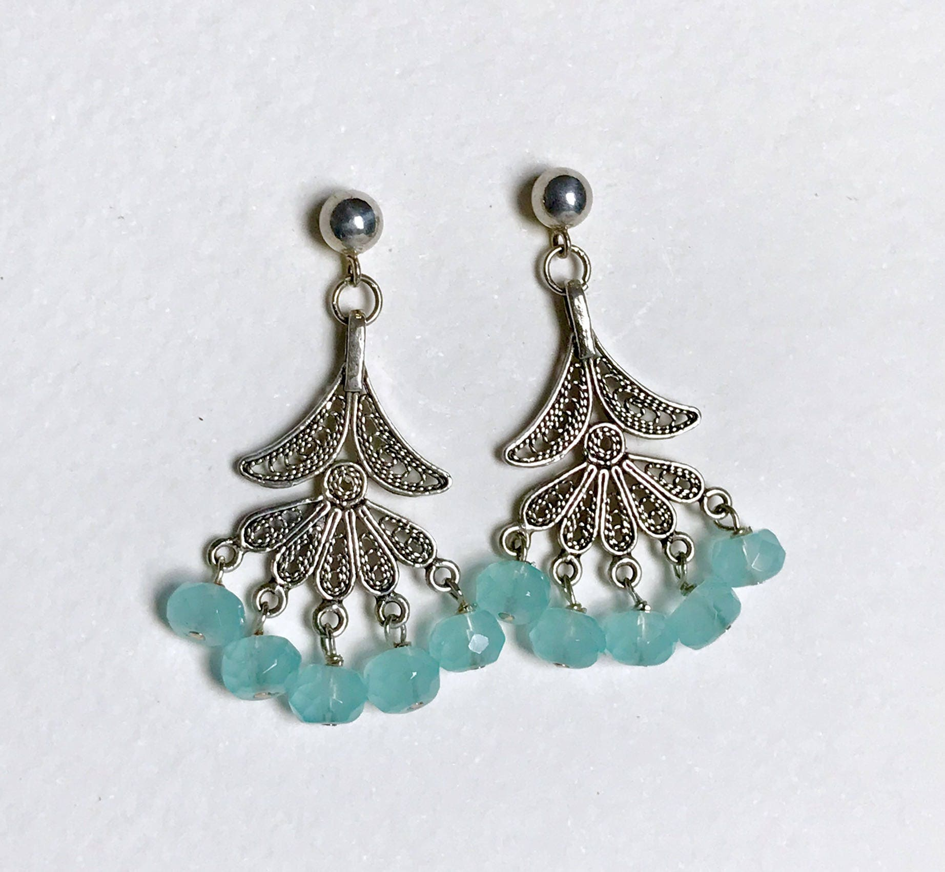 Chalcedony Quartz Filigree Chandelier Earrings by KarenWhalenDesigns