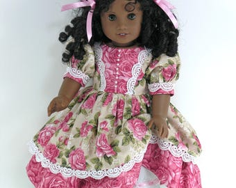18 inch Clothes for American Girl Doll - 1850s Dress, Pantalettes, Hair Ribbon - Roses Floral - Boots, Socks Option