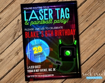 Laser Tag Invitation, Laser Tag Birthday Invitation, Mobile Laser Tag Party, Printable Birthday Party Invitation