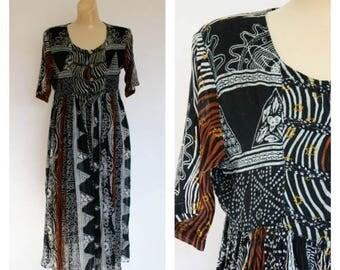 Sale Vintage 80s Midi Festival Dress / 1980s Ethnic Festival Dress / Tribal Gauze Dress / Vintage India Dress M