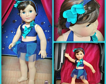 """Doll Dance Recital Blue Skies Lyrical Costume  American Made to Fit Your 18"""" Girl Doll"""