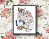 Alpaca wedding(Print), Alpaca print, wedding illustration, animal print, wedding decor, alpaca decor, alpaca illustration, alpaca art