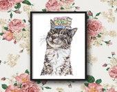Cat & books (Print) Cat print, Cat illustration, animal print, Cat decor, animal decor, Cat painting, Cat art, book illustration, book decor