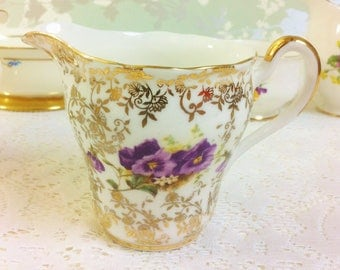 Pansy Creamer and Sugar Bowl with Gold Filigree