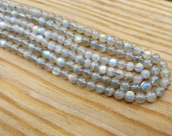 "1-15.75"" Strand Genuine Natural Labradorite 5.5mm Smooth Round Bead (Approx 67 Beads)"