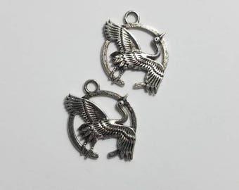 Silver Crane Bird Charms