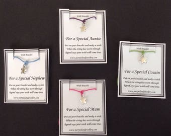 FAMILY MEMBERS Star Charm Bracelet on Wish Message Card - 12 Colours - Mum Dad Auntie Uncle Cousin Sister Brother Son Daughter Niece Nephew
