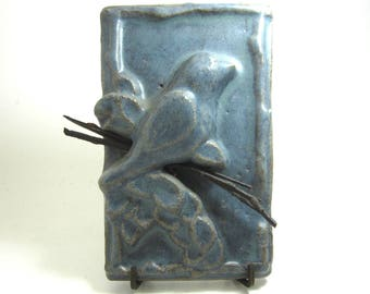 Arts and Craft tile  blue bird signed Ontko