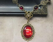 SPRING SALE Ruby Red and Gold Medieval Necklace Wedding Tudor Style Renaissance Cosplay