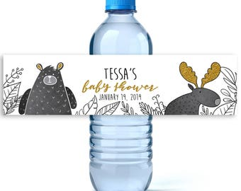 Woodland Baby Shower Water Bottle Labels - Baby Shower Favors - Baby Shower Labels  - Water Bottle Labels - Boy Baby Shower Water