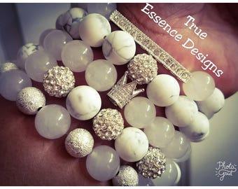 White Jade & Howlite Bracelet Set