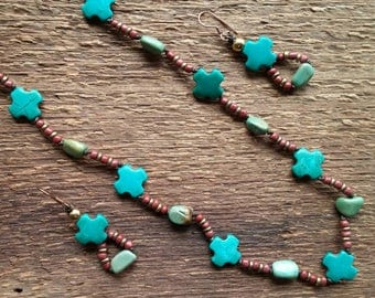 Turquoise Cross Necklace, Leather Necklace, Cross Necklace, Long Necklace, Layering Necklace, Bohemian Jewelry, Tribal Jewelry
