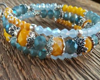 Wrap Bracelet, Heart Bracelet, Bohemian Jewelry, Blue Bracelet, Memory Bracelet, Valentine's Day, Boho Bracelet, Layering Bracelet