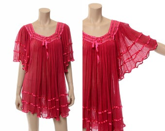 Vintage 70s Sheer Gauze Tunic Top 1970s Fuchsia Pink Mexican Gauzy Shirt, Hippie Angel Wing Blouse, Boho Festival Bell Sleeve Top / One Size