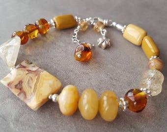 Solar Plexus Chakra Stone Healing Crystal Bracelet Chakra Healing Bracelet Yellow Stone Citrine Amber Mookaite Jasper Agate Sterling Silver
