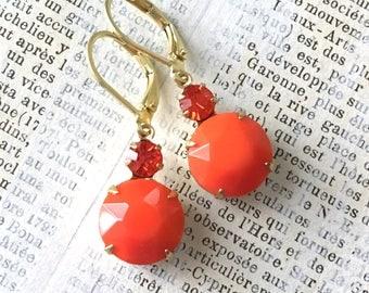 Vintage Rhinestone Earrings | Orange and Red Orange