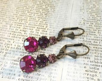 Vintage Rhinestone Earrings | Fuchsia Violet Purple