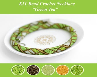 Bead Crochet Necklace KIT Bead Crochet Necklace Pattern Jewelry Making Kit Crochet Necklace Beaded Necklace DIY