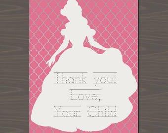 Princess Party Invitations, Princess Thank You Cards, Princess Thank You Notes, Customized Princess Cards   Digital or Print   Cinderella