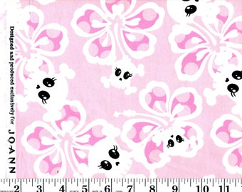 1 Yard, Skulls and Flowers on Pink Cotton