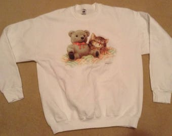 Vintage 90's cat sweatshirt size XL