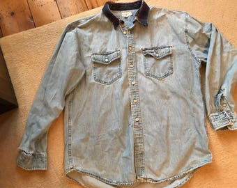 Distressed J Crew jean denim shirt size XL