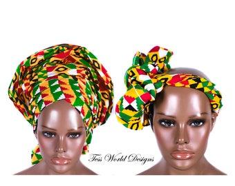 Kente Print headwraps/ Kente headwrap/ African Head wraps/Fabric from Ghana/ African Turban /African Fabric/African Head scarf/ HT201