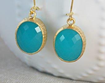 Turquoise Faceted Earrings, Gold Framed Earrings, Gold Dangle Earrings, Glass Earrings, Bridesmaid Earrings