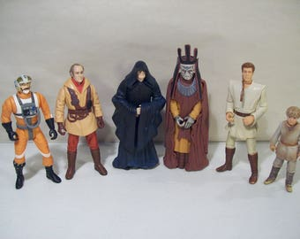 Lot of 6 Vintage Star Wars Action Figures, Nute Gunray, Olie, Biggs, Obi Wan Kenobi, Young Anakin Skywalker, Emperor Palpatine, 1998