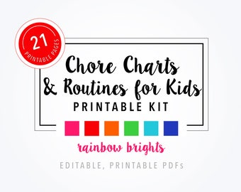 Printable Chore Charts & Routines for Kids - Rainbow Bright