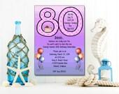 Purple 80th Invitation | Adult Birthday | Printable Editable Digital PDF File | Instant Download | ABI224DIY