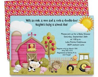 Farm Baby Shower Invitation | Girls Barnyard Baby Shower | Printable  Digital File | BSI228DIY