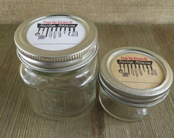 Personalized Canning - Kitchen Utensil  Design - 20 4 Oz  Mason Jars Jars or 12 8 Oz Square Mason Jars With Custom Labels