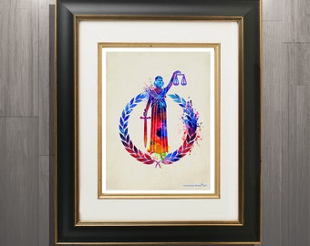 "Lawyer print, Lawyer Symbol - Watercolor Lady justice-8.5""x11"", Scales of Justice print, Pass the Bar gift, Law Office Decor, Attorney gift"