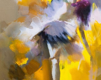 Original Art Painting Ballerina, Oil Canvas Abstract, Yellow Painting of Dancer, Contemporary artwork