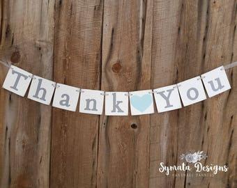 Thank you heart banner - photo prop - Light Blue heart Blue topaz, sky blue- grey lettering - lower case letters - romantic - IATY142