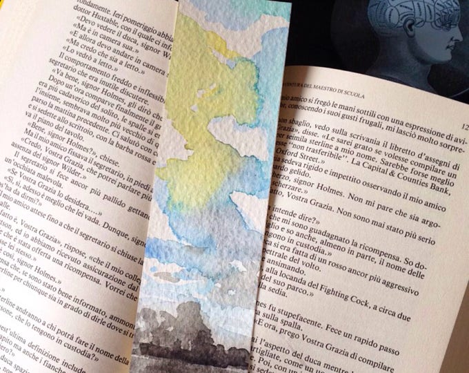 Featured listing image: Landscape Sky Watercolor Bookmark, pagemarker,  sky painting
