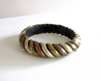 Wide Mixed Metals Bangle Boho 1970s Brass Copper Silver