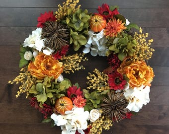 Fall Wreath, Fall Decor, Fall Wreaths for Front Door, Wreaths for Front Door, Wreath Fall, Pumpkin Wreath, Thanksgiving Wreath, Fall Decor