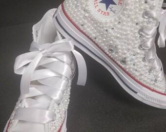 custom bling hightop converse