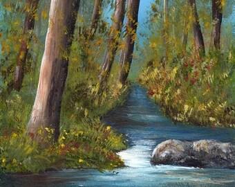 SALE River Forest Trees Rocks Stream SFA  Original hand painted acrylic Landscape painting by Australian Artist Janet M Graham