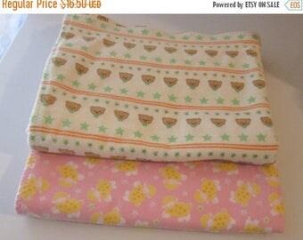 Summer Sale Set of Two Handmade Flannel Receiving Blankets - Cute Teddy Bear Print and Lamb Print